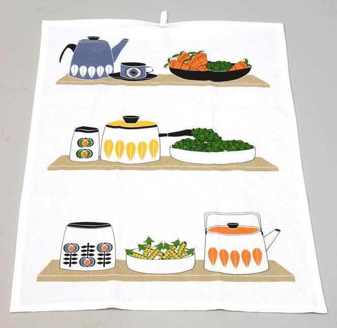"""Kökshandduk """"Retro grönsaker"""" 4-pack"""