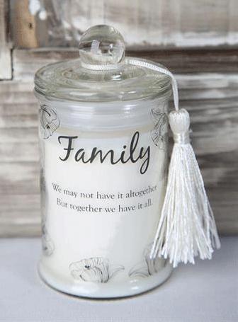 """Aromaterapi ljus Doftljus i glas med budskap """"FAMILY"""""""