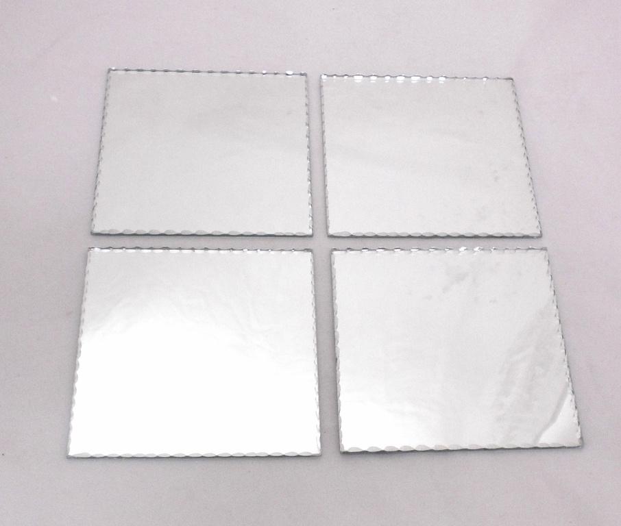 Spegelfat underlägg dekoration spegel ljusfat shabby 4-pack