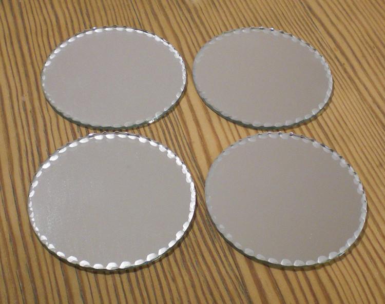 Spegelfat dekoration spegel ljusfat shabby 4-pack 8cm