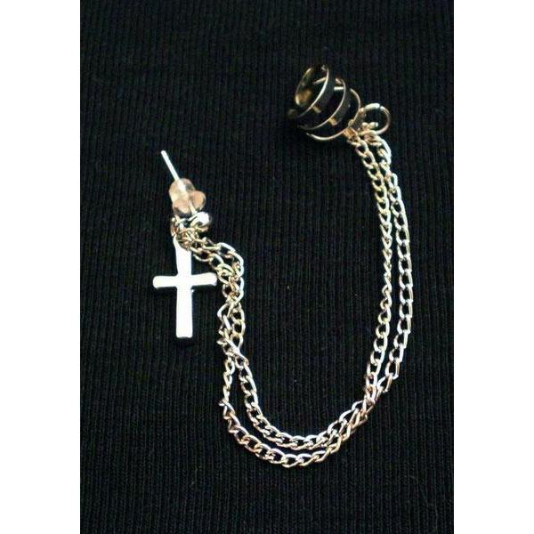 Ear cuff med dubbel kedja och kors