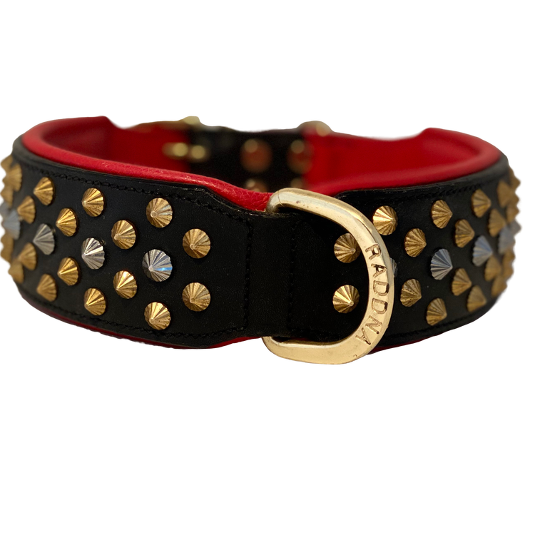 Kalix Red Hundhalsband - Svart/Röd Mässing