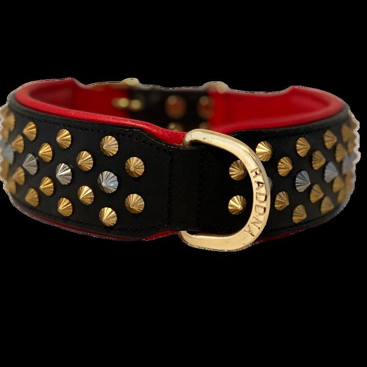 Kalix Red Dogcollar - Black/Red Brass