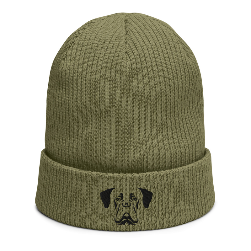 Organic ribbed beanie - black dog M