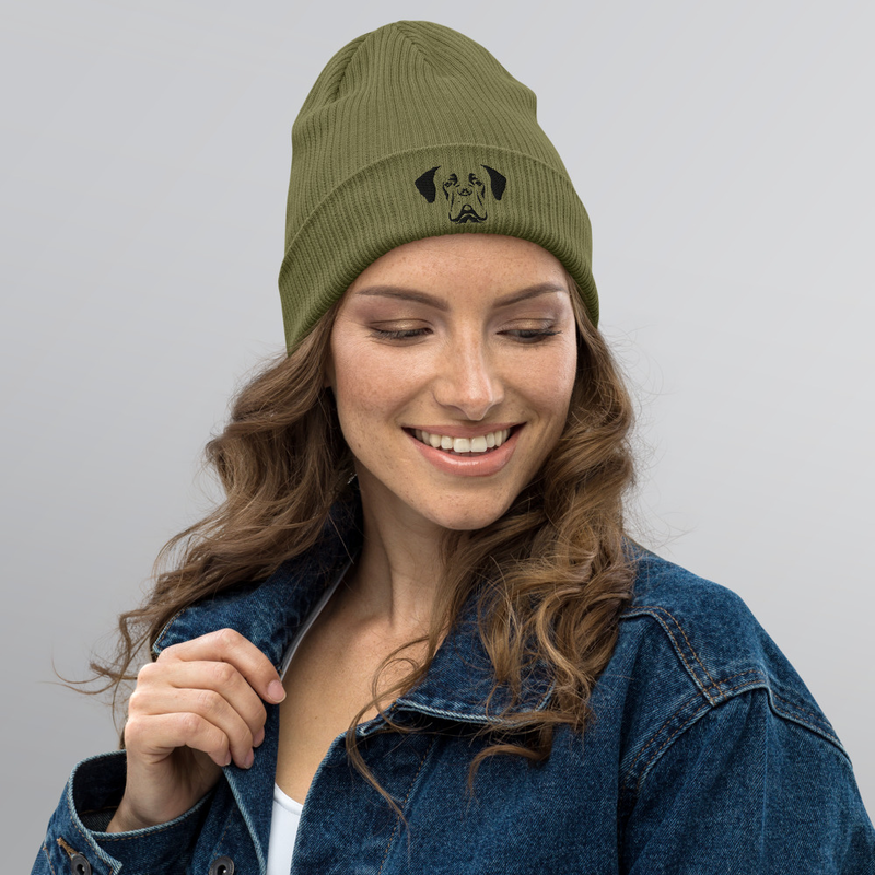 Organic ribbed beanie mössa black dog - wo