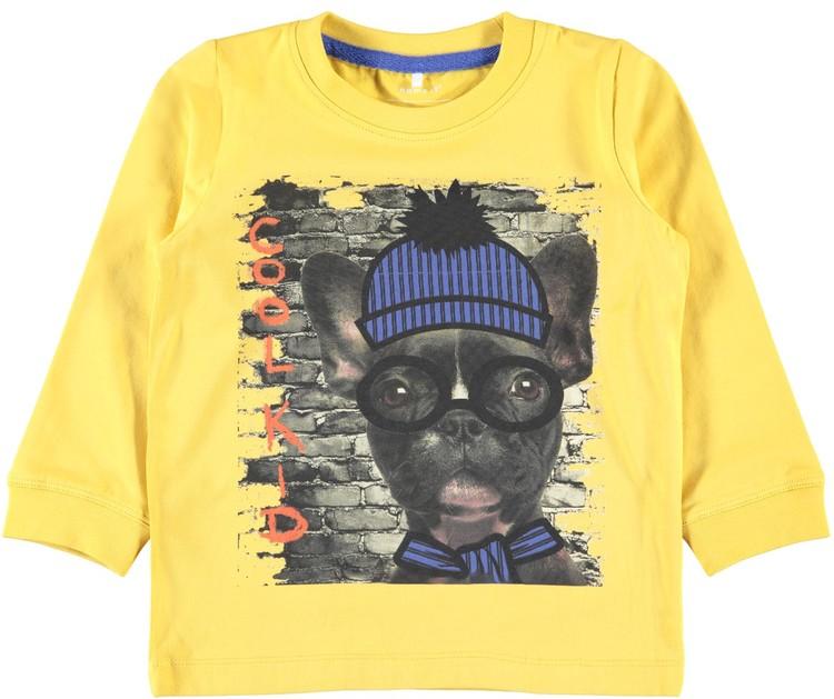 Långärmd T-shirt m hund, stl 92-122/128