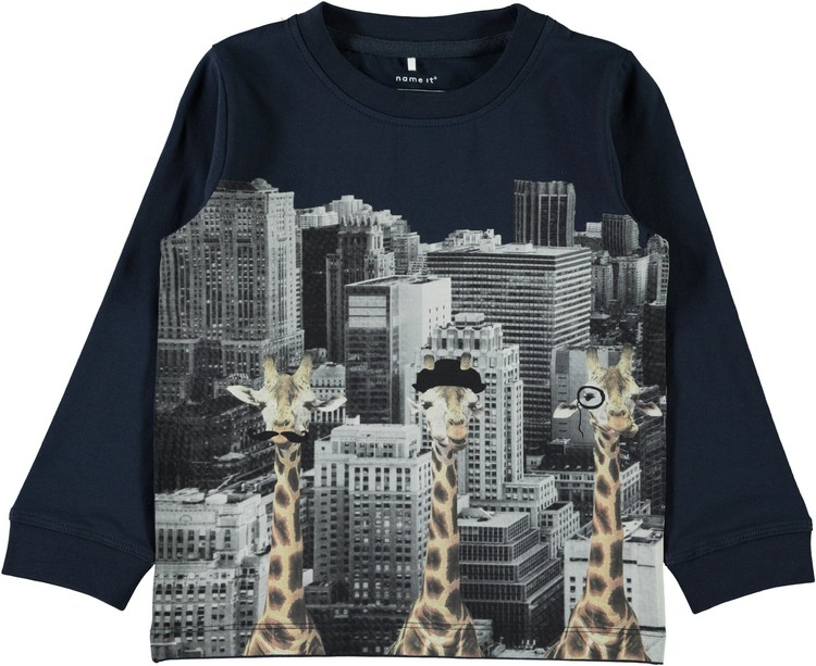 Långärmd T-shirt m giraffer, stl 92-122/128