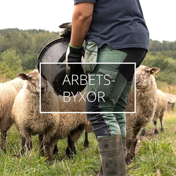 En kvinnlig bonde matar fåren iklädd gröna arbetsbyxor