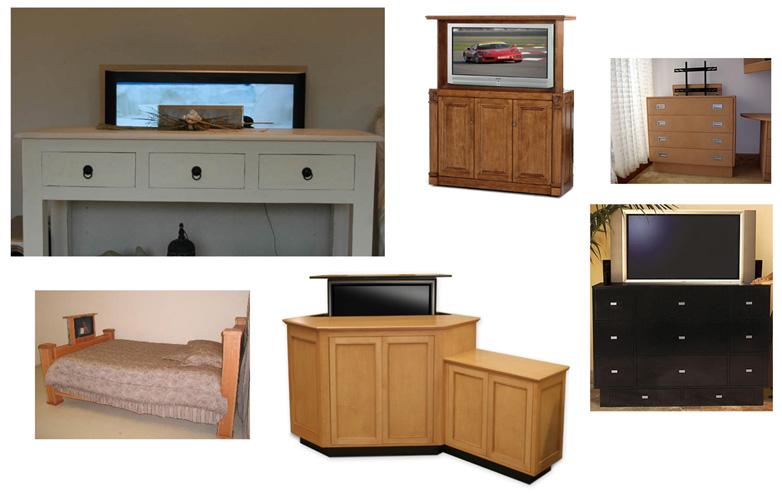 Diverse olika exempel på tv-möbler med inbyggd lyftanordning