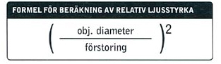 Formel för uträkning av ljusstyrka på kikare