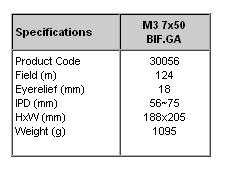 Marine-3 7x50 BIF.GA specifikationer