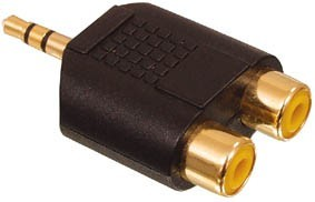 3,5mm hane - 2 st RCA gold
