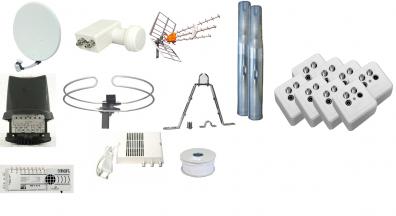 Villapaket antenn / parabol 8 dubbeluttag