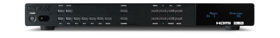 6x2 UHD HDMI switch med separat ljud.