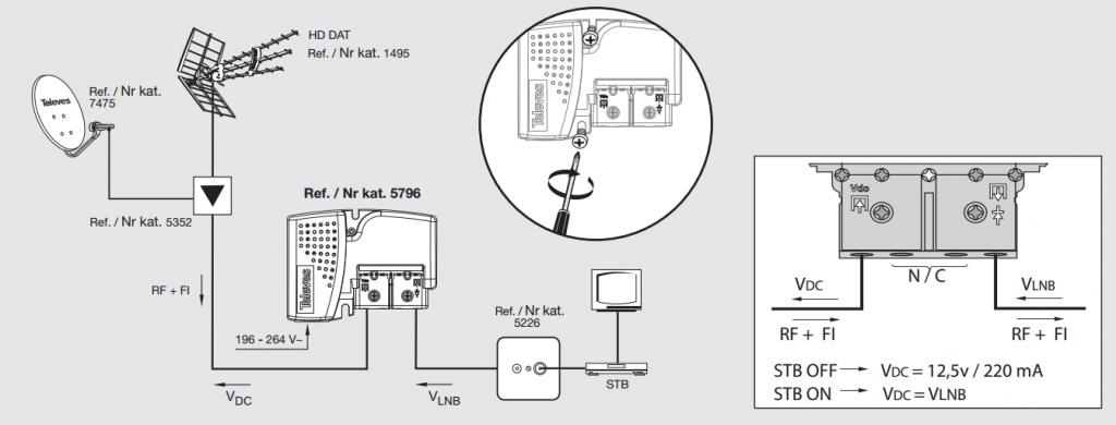 12V Nätdel till antennförstärkare f-smart 220 mA SAT