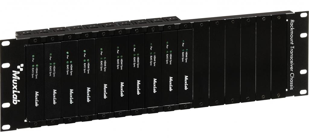 3U rackram för 16 transceivers