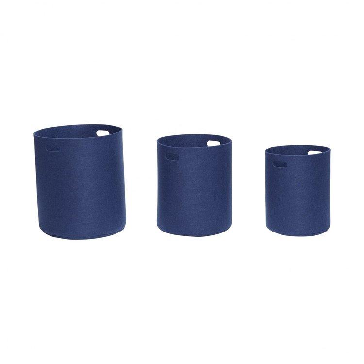 Korgar i filt, Blå, Set om 3
