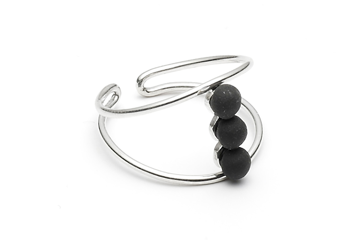 Ring Microdot-04-01, Silver/BlackMat