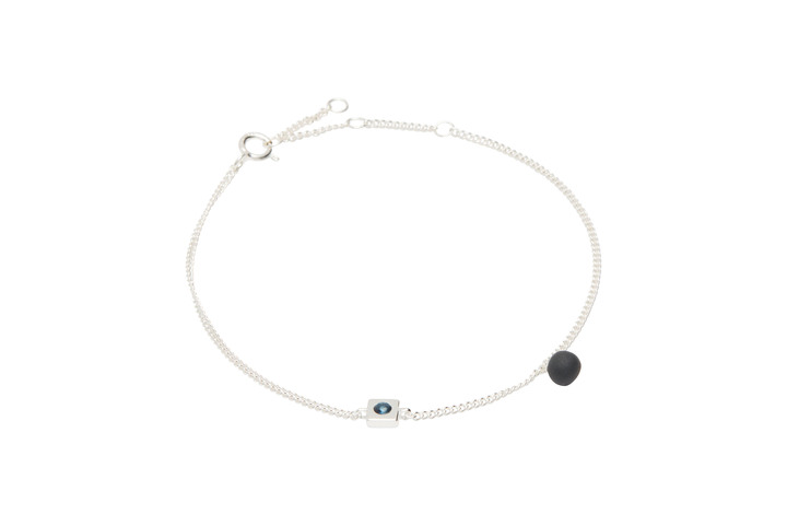 Armband SquarePearl-02-03, Silver/BlackMat