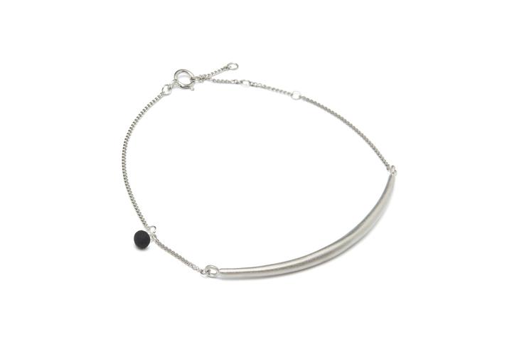 Armband String-02-03, Silver/BlackMat