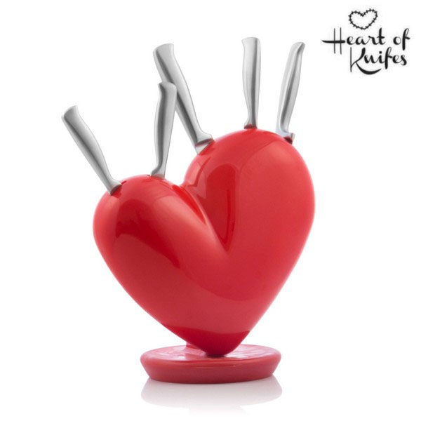 SET MED KNIVBLOCK HEART OF KNIVES