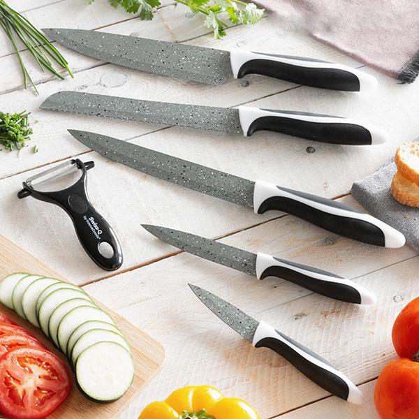 Stenbelagt knivset (6 delar) Swiss Q