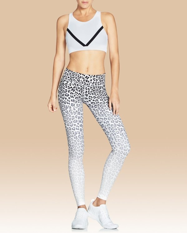 Rockell full length leggings white leopard ombre