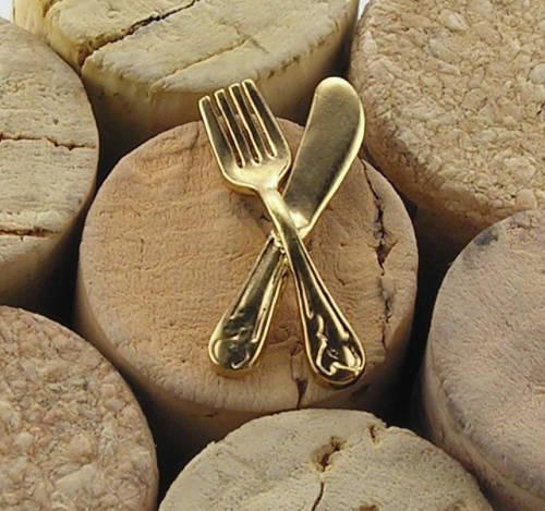 Brosch i guldförgyllt silver bestick