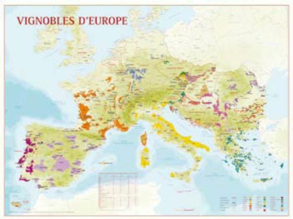 Karta med Europas alla vinländer