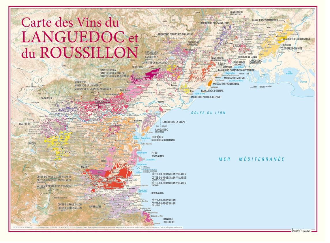 Vinkarta Languedoc och Roussillon
