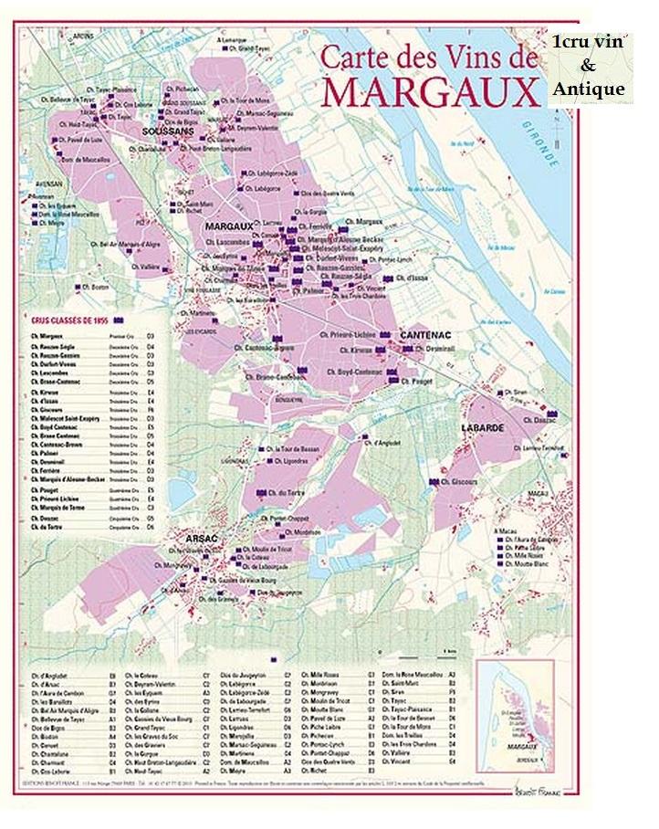 Vinkarta Margaux i Bordeaux