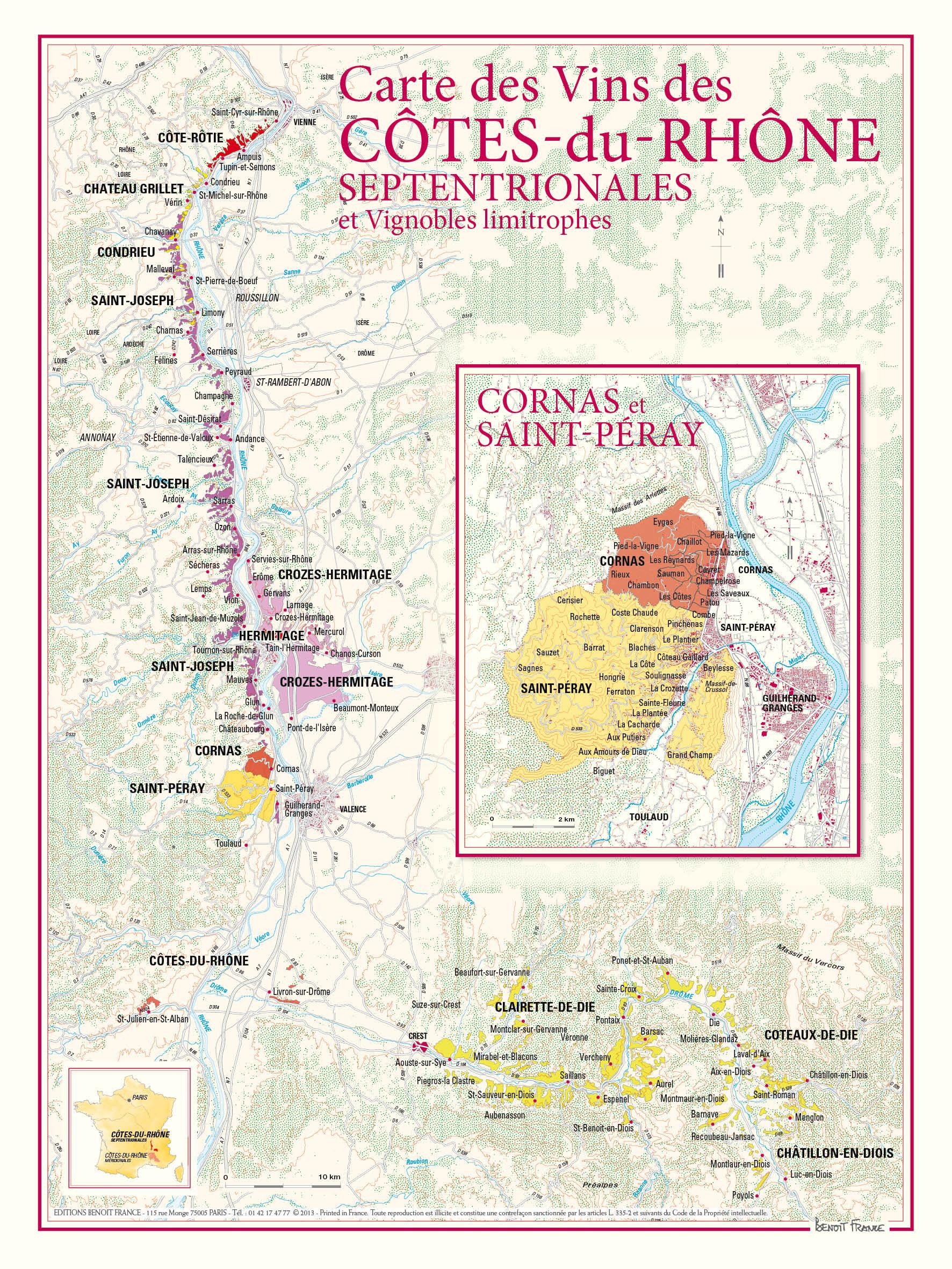 Vinkarta över norra delen av Côtes du Rhône
