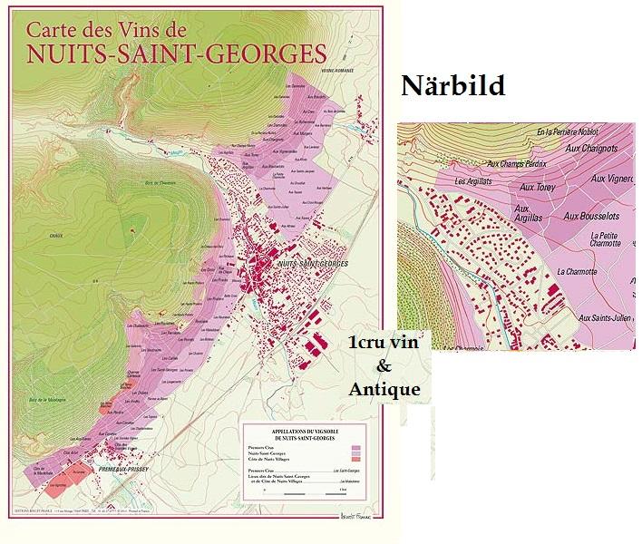 Vinkarta över Nuits Saint Georges