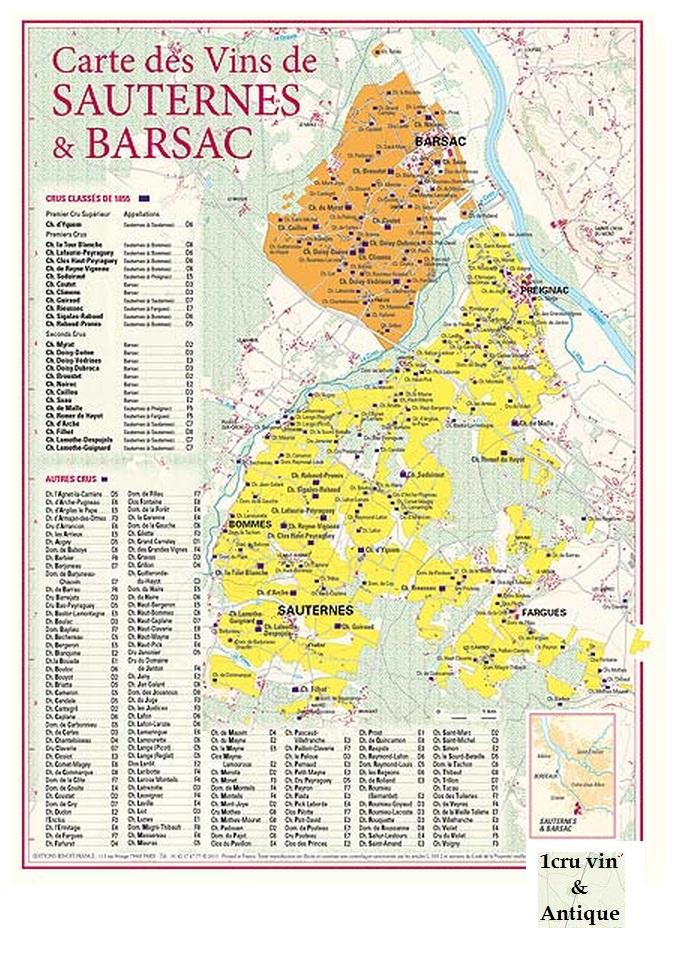 Vinkarta Sauternes & Barsac i Bordeaux