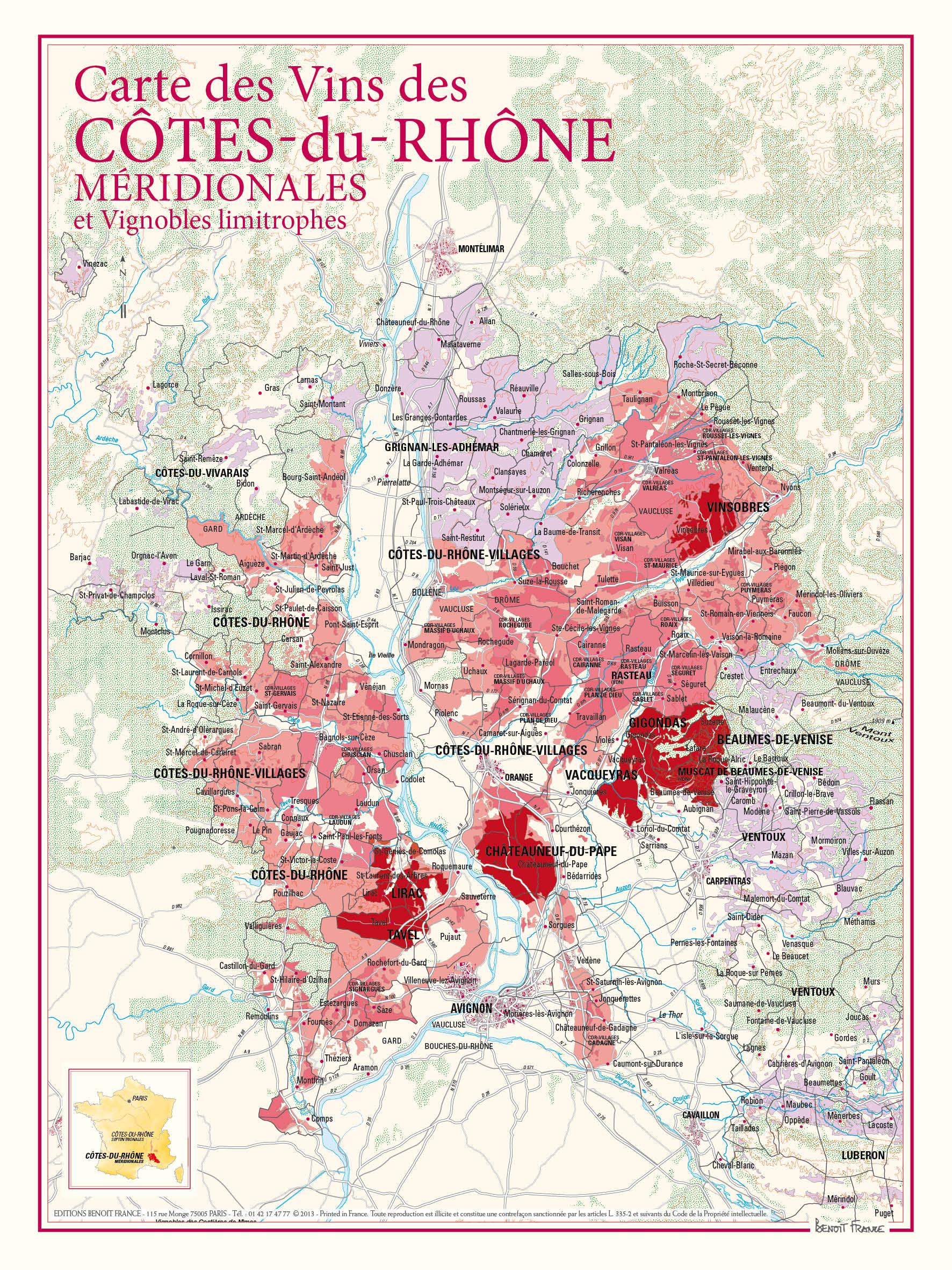 Vinkarta södra delen av Côtes du Rhône
