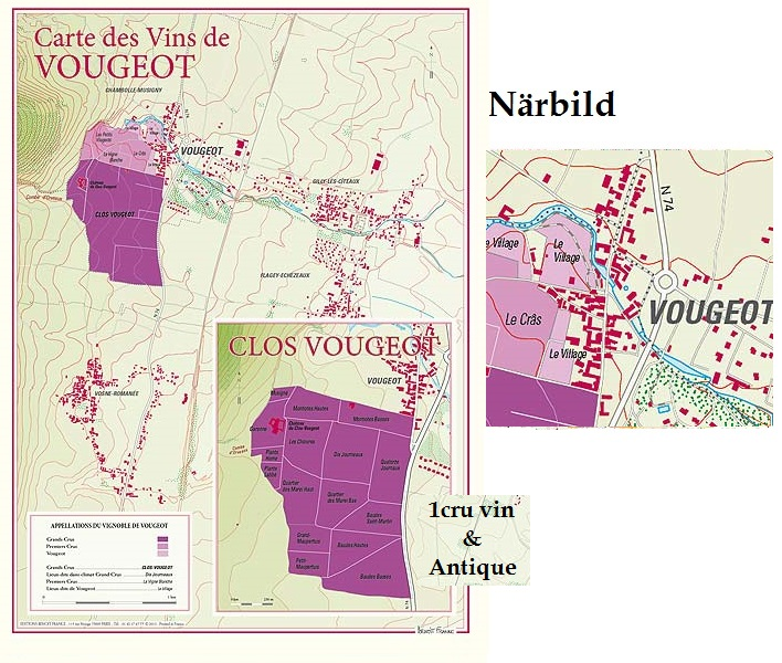 Vinkarta Vougeot och Clos Vougeot