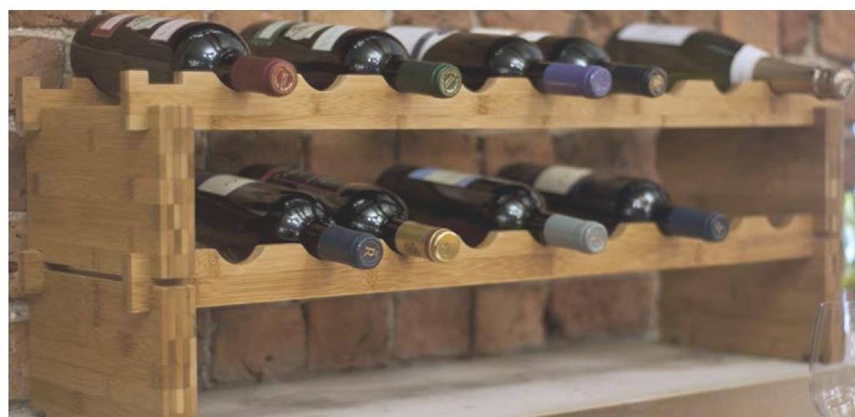 Vinställ i bambu för 18 vinflaskor