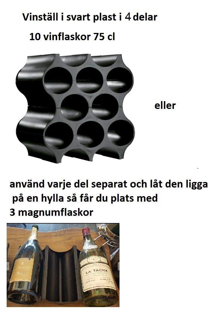 Vinställ för 10 flaskor i svart plast