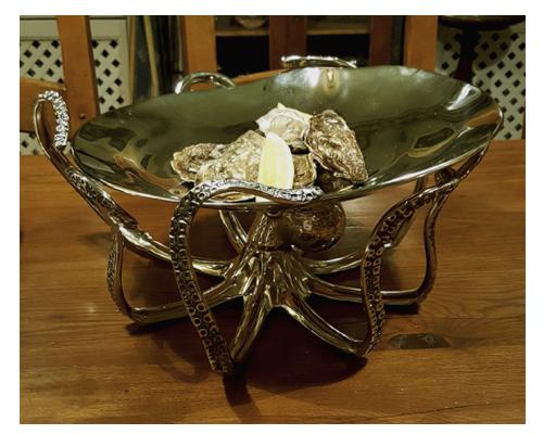 Serveringsfat bläckfisk för ostron och skaldjur