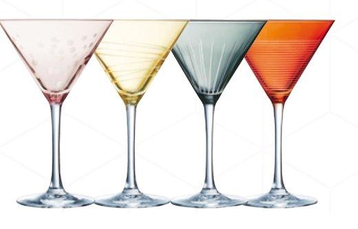 Martiniglas 4 olika färger
