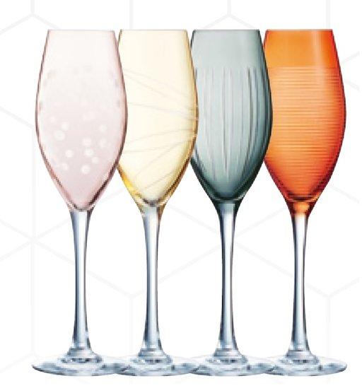 Champagneglas 4 olika färger