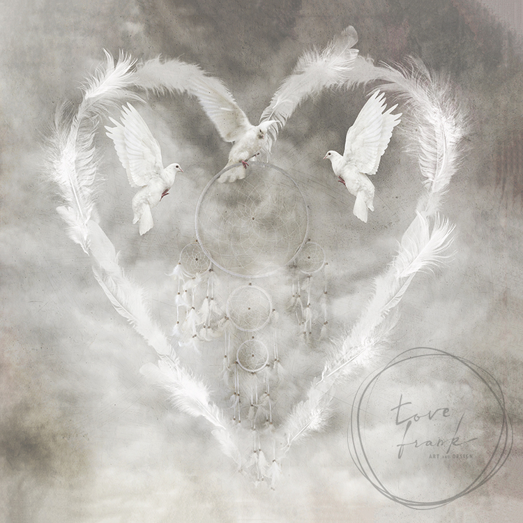 """Feather Heart"" Dubbelt kort 15x15cm"