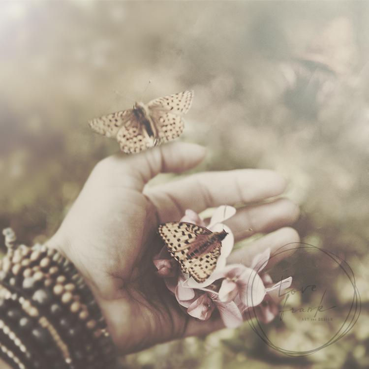 """""""Butterflies"""" Dubbelt kort 15x15cm"""