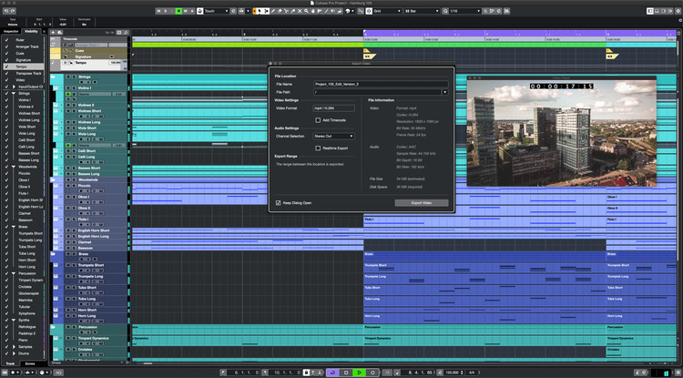 Steinberg Cubase Pro Video Export