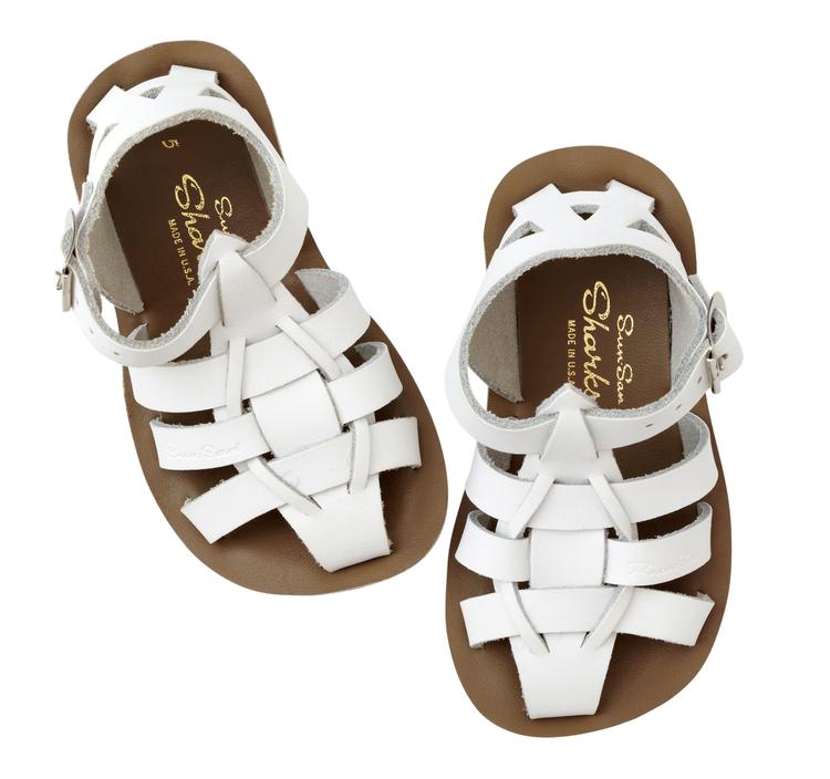 Salt-water sandals, White, Shark 21-27