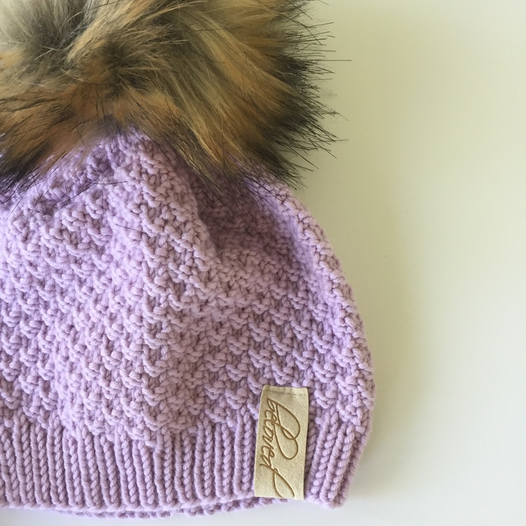 Handknitted merino wool pompom hat, lilac/pink