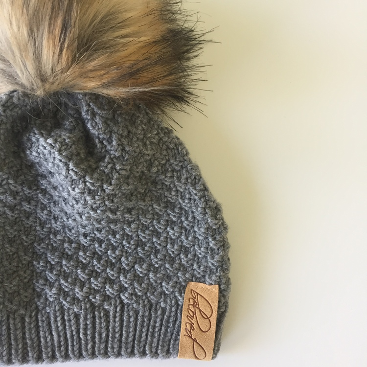 Handknitted merino wool pompom hat, grey