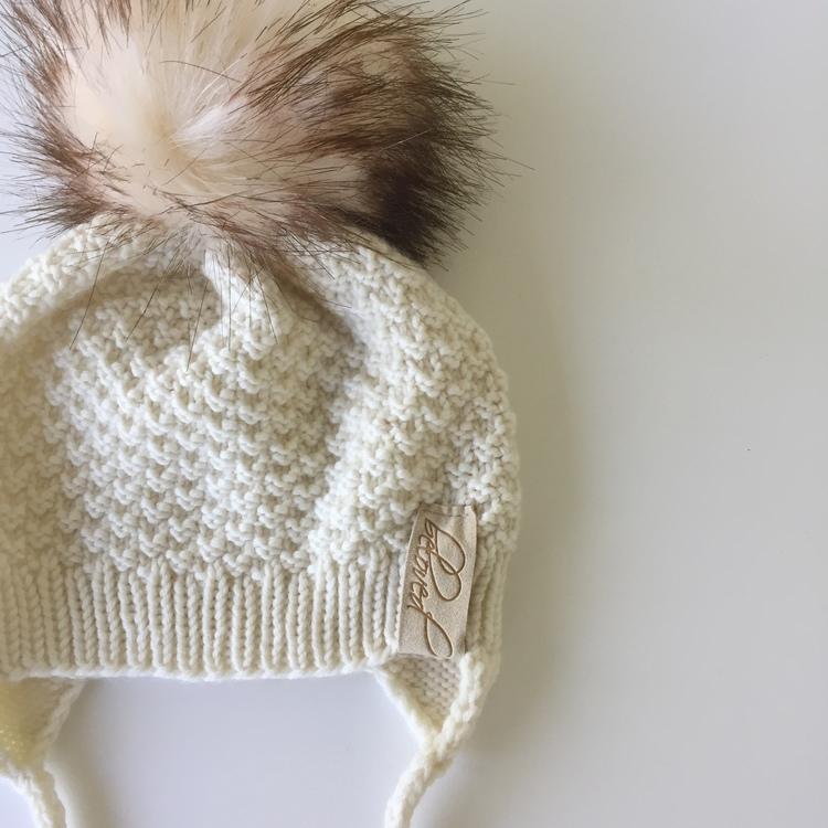 Handknitted drawstring merino wool pompom hat, offwhite