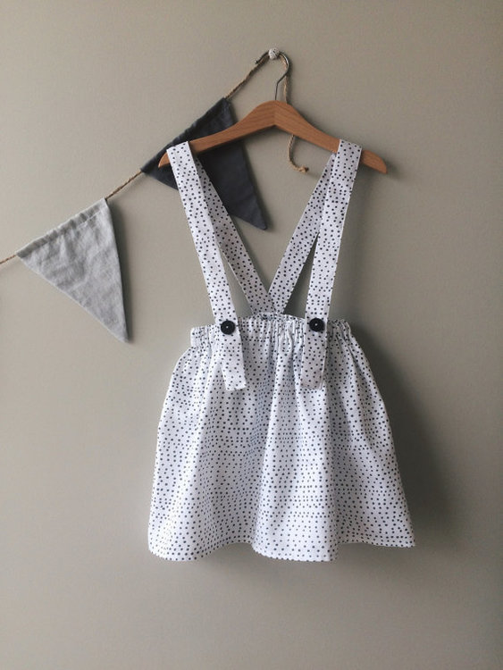 Skirt with straps, polkadot