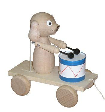 Ernie - pullalong eco wooden drum playing dog